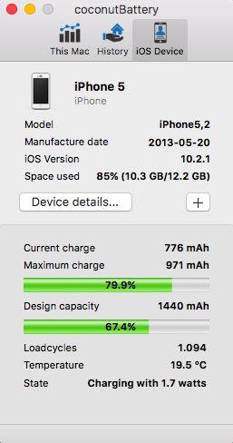 Das kostenfreie Mac OS X Programm Coconut Battery (coconutBattery) zeigt den aktuellen Ladestatus des Akkus im PowerBook, iBook, MacBook und...