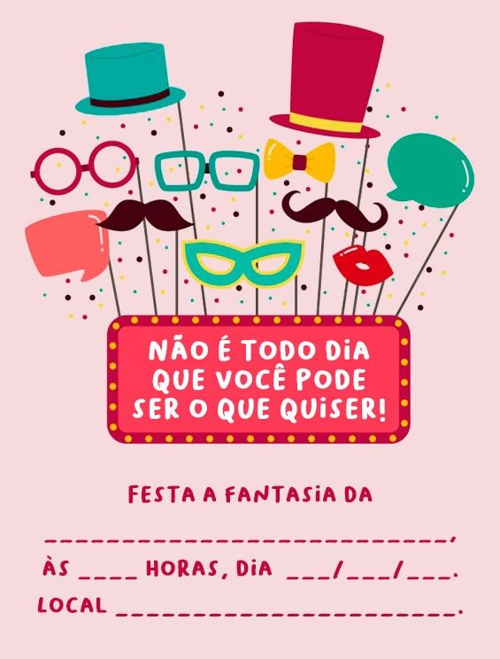 Convite Festa A Fantasia Editar Convitefestaafantasia