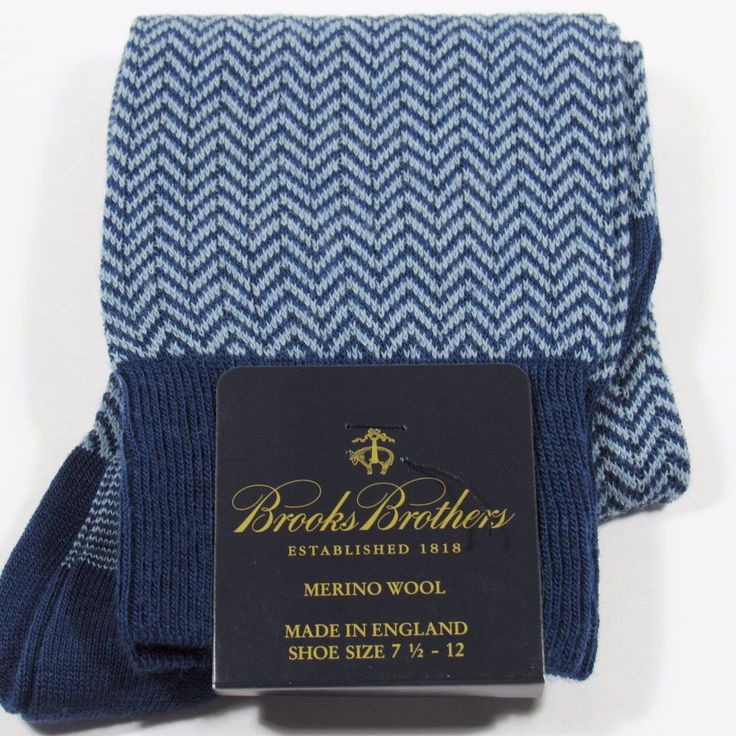 BROOKS BROTHERS Men's Herringbone Dress Socks Merino Wool England FRENCH BL. NWT #BrooksBrothers #Dress