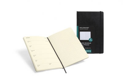 The 18-month weekly planner notebook covers the period of July 2012 to December 2013. Featuring a black hard cover with rounded edges, it has 208 acid-free paper pages, a ribbon bookmark and elastic enclosure. There is an expandable inner pocket which contains an address book with 28 lined pages and laminated alphabetic labels, which can be used individually or as part of the notebook. http://www.public.gr/cat/stationery-gifts/