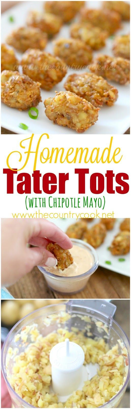 Homemade Tater Tots with homemade chipotle mayo recipe from The Country Cook