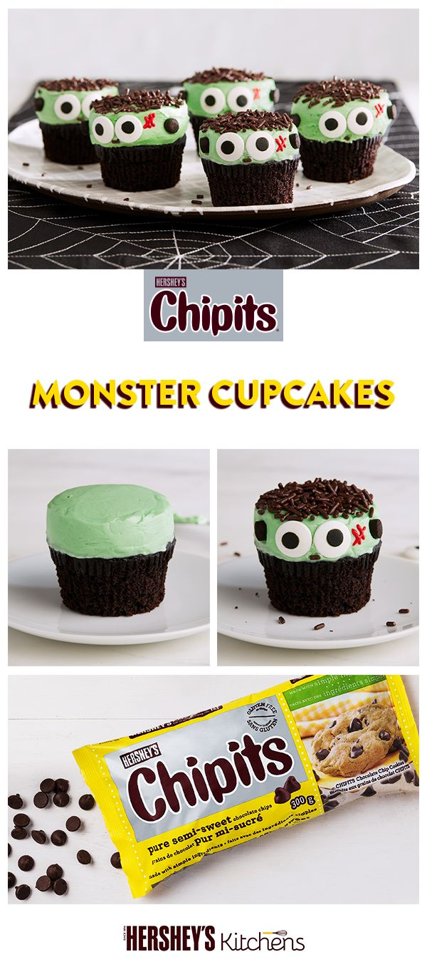 CHIPITS Semi-Sweet Chocolate Chips are so creamy and rich they'll bring your Halloween baking to life…literally. CHIPITS Monster Cupcakes are too easy and fun not to try. #BakeItEasy