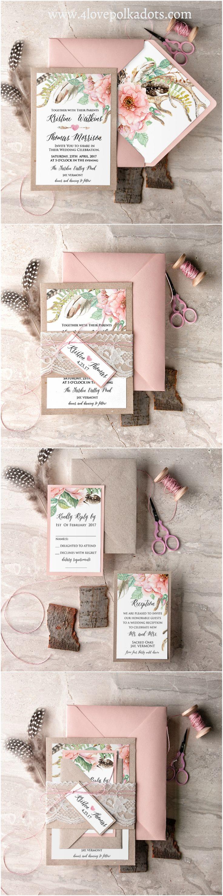 Wedding invitation 4lovepolkadots blush bohemianwedding weddinginvitations