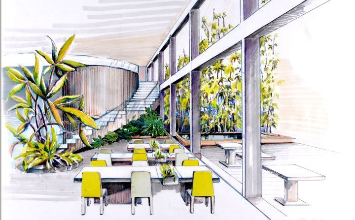 Interior Design Sketch With Yellows Greens And Light Shades Interior Design Sket Interior Design Drawings Interior Design Sketches Interior Design Process