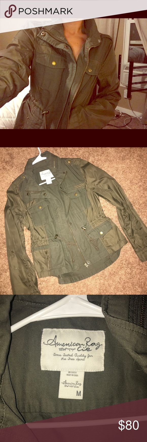 Army green American Rag fall jacket ! BRAND NEW ! Never warn *American Rag * army green jacket.. perfect for fall ! Size medium just to big for me :( American Rag Jackets & Coats