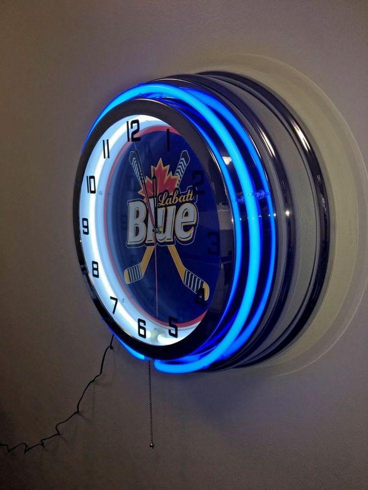 "LABATT BLUE HOCKEY -  BLUE NEON CLOCK - LARGE 19"" DIAM."