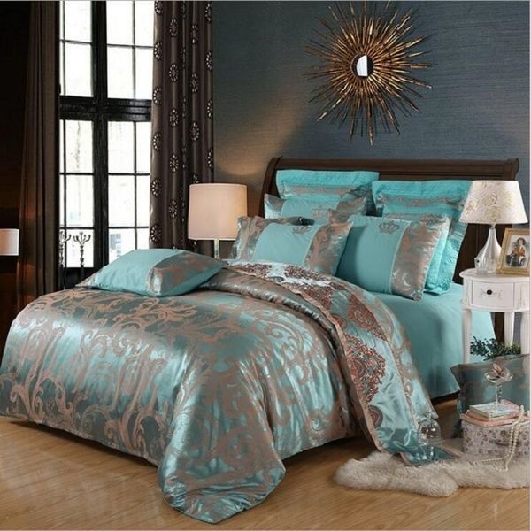 Retro Style Princess Jacquard Luxury Bedding Duvet Cover Sets Pillowcases Twin Queen King Size Wish Bed Linens Luxury Bed Linen Sets Luxury Duvet Covers