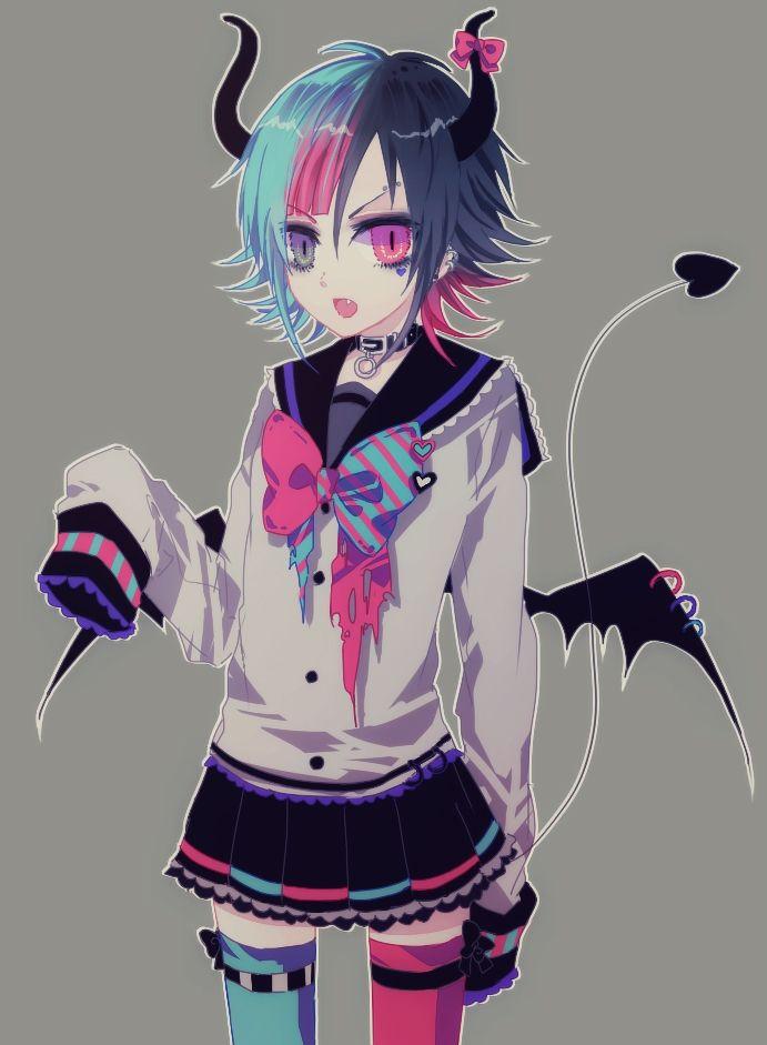 anime heterochromia / odd eyes grey pink