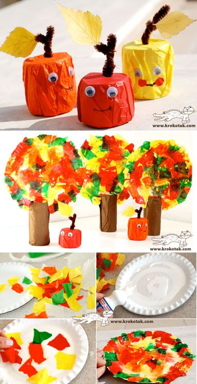 Tissue Paper Apples and Fall Trees. Made with Paper Rolls too! #fall #preschool #kidscraft