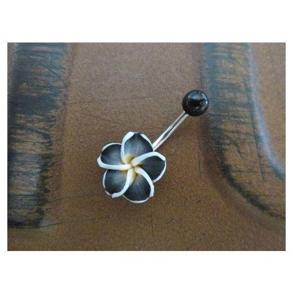 Black Hawaiian Flower Plumeria Belly Button Ring Hawaii Navel Stud... ❤ liked on Polyvore