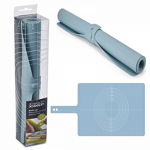 Tesco direct: Joseph Joseph Roll-Up Silicone Pastry Mat with Rolling Size Guide, Non-Slip, Secure Lock Closure, Blue