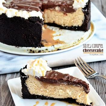 Salted Caramel Cheesecake sounds like the perfect combination of awesomeness!  @Marcy Valencia Valencia Kolean