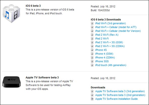 Download iOS 6 Beta 3 for iPhone 4S, iPhone 4, iPhone 3Gs, iPad 2