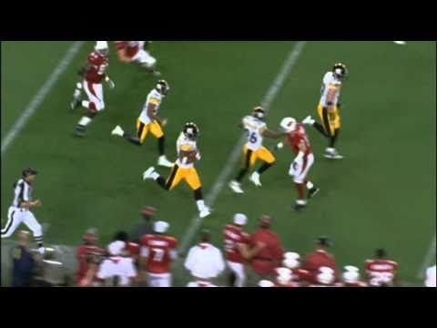 James Harrison interception return 100 yards Super Bowl 43... I was there for it and it was AWESOME!!!
