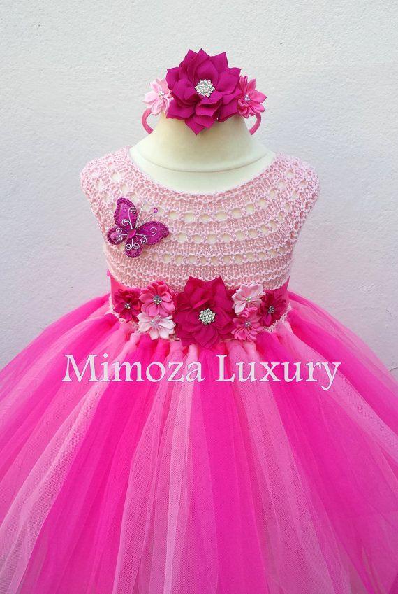 Pink Flower girl dress hot pink tutu dress by MimozaLuxury