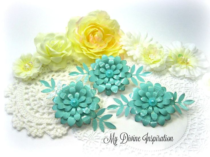 Light Aqua Paper Flowers, Paper Embellishments for Scrapbook Layouts Cards Tags Mini Albums Altered Art Journals Planners and Paper Crafts by mydivineinspiration on Etsy