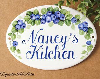 Pintado a mano de placa de cocina personalizado con arándanos para cocina, placa, regalo personalizado