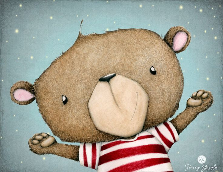 Adorable brown bear in a red & white striped shirt—SHINE BRIGHT art print❣ by Stacey Yacula