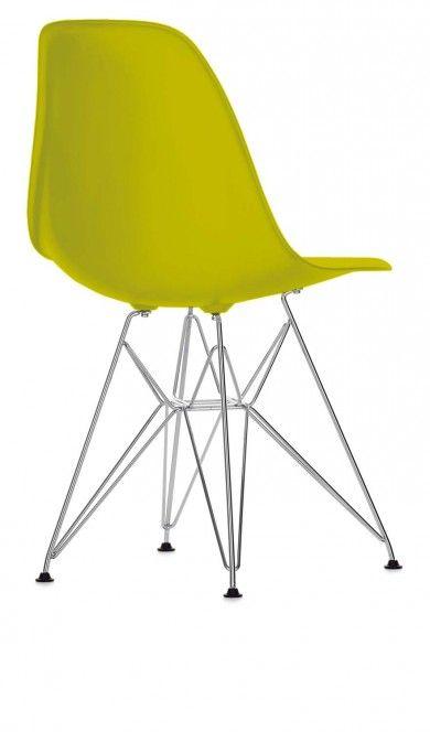 Chaise Eames Plastic side chair DSR  Avec ou sans rembourrage, ces coques aux lignes organiques présentent un confort élevé.  Coque de l'assise en polypropylène teinté.  Piétement chromé quatre pieds en fils d'acier avec croisillons, non empilable.  Designer :CHARLES & RAY EAMES Marque :VITRA Couleur :MOUTARDE Dimensions : L 46,5cm P 55cm H 81cm Assise 41cm  #Jbonet #design #Vitra