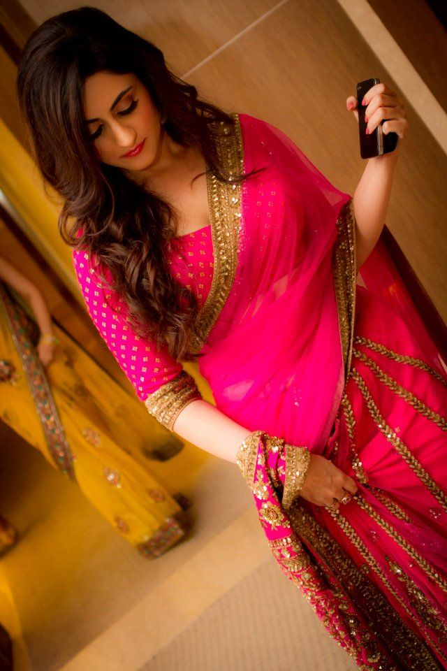 hot pink sari! Love it!
