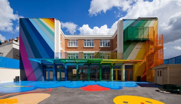 The Ecole Maternelle Pajol Kindergarten school in Paris, France is newly renovated 1940s building by Palatre et Leclere architecture firm.