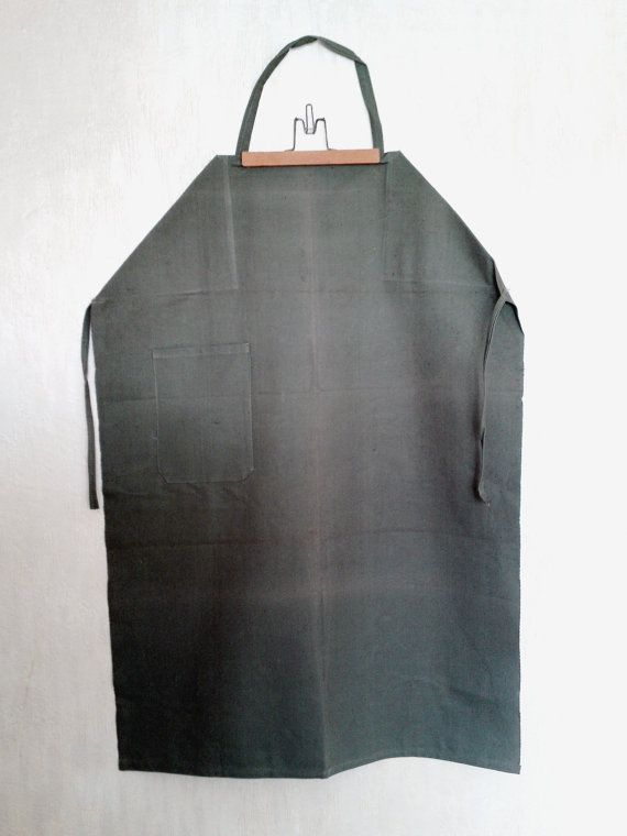 Vintage canvas apron soviet green waxed apron by PetarsVintage