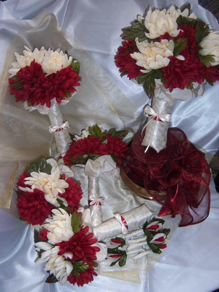 Crimson And Cream Silk Wedding Bouquet Set 1 Bridal 4 Bridesmaid Bouquets