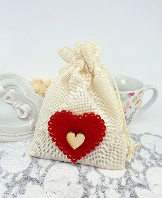 Ivory hearted travel pouch fabric jewelry pouch textile gift