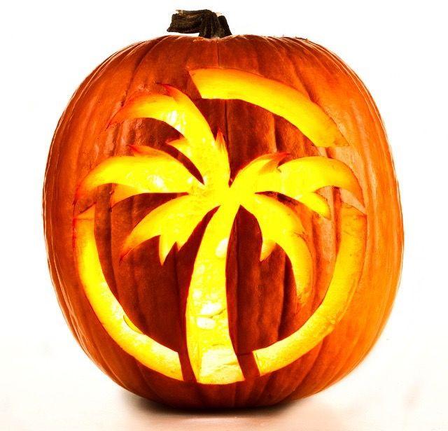 Awesome Halloween Palm Tree Pumpkin carving idea.