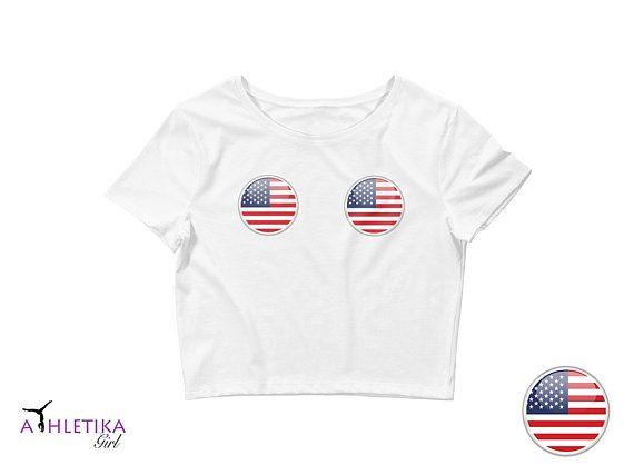 578fde18dbec American Flag Crop Top Boob Print Labor Day 4th July