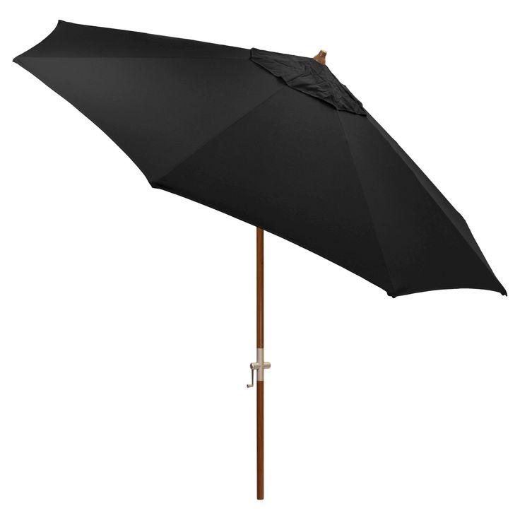 9' Round Sunbrella Umbrella - Canvas Black - Medium Wood Finish - Smith & Hawken