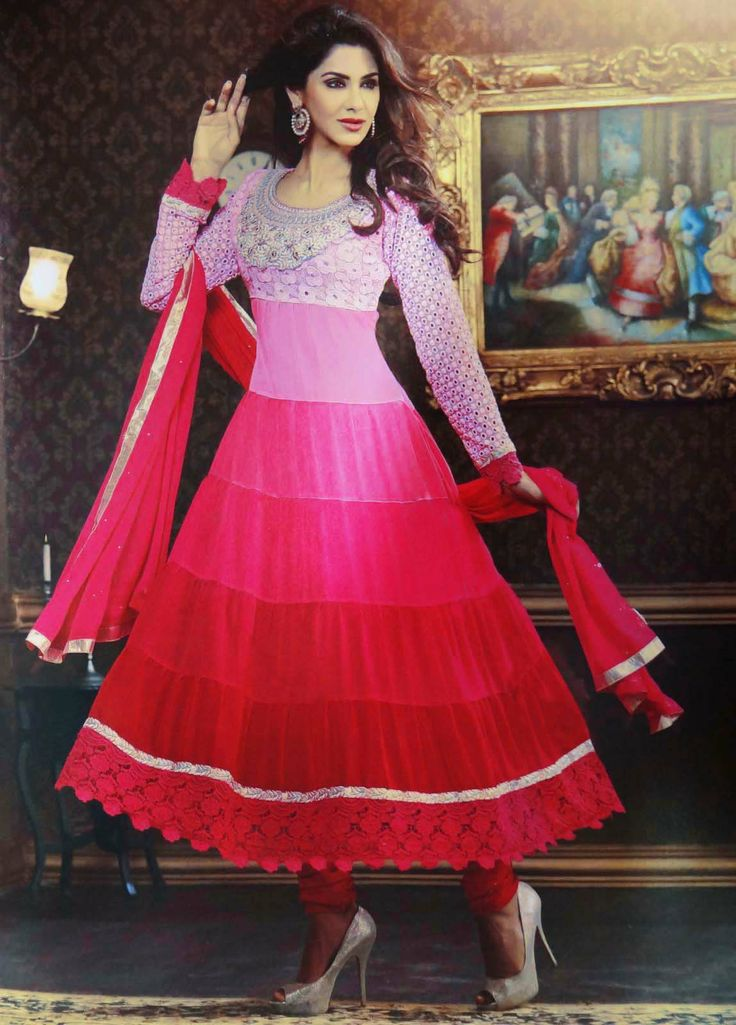 Unstitched Anarkali suit fabric in Pink color ..this is img