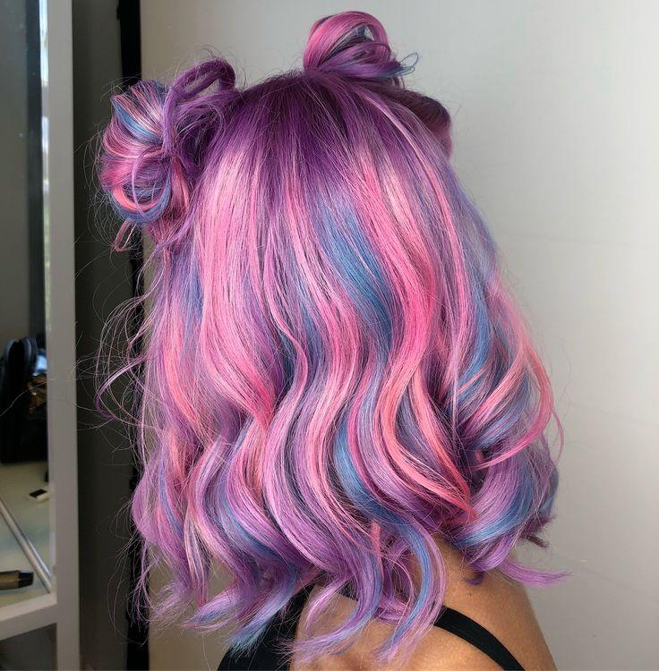 Pink And Blue Hair Space Buns Hair Styles Pretty Hair Color Hair Dye Colors