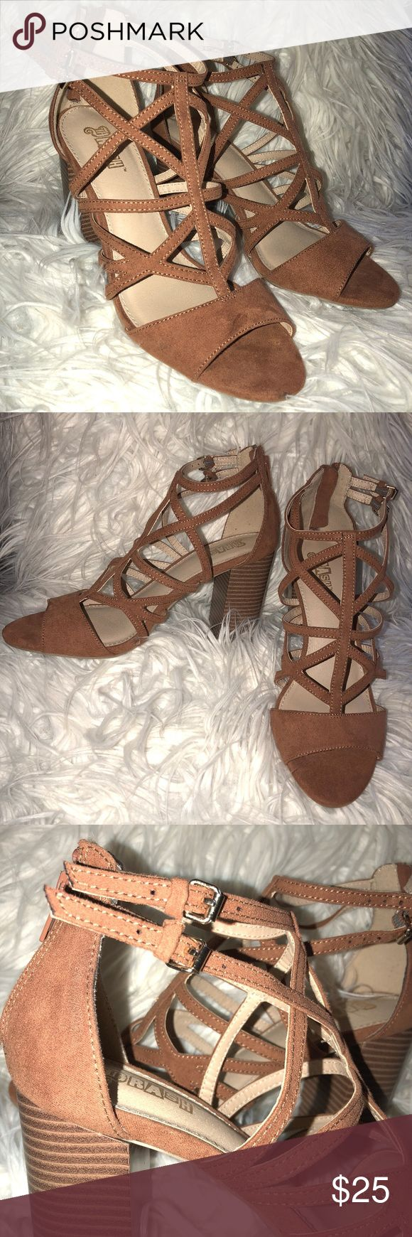 Camel Strappy Block Heels • 9 • Brash • NWOT Brand: Brash by Payless Color: Camel Material: Suede-like Size: 9 Heel height: Approx 3.75 inches  NWOT. Never worn. Perfect for the spring and summer. Features zipper on the back as well as 2 cute tiny buckles on the side. They do not come with the original box. Additional photos available upon request. Brash Shoes Heels