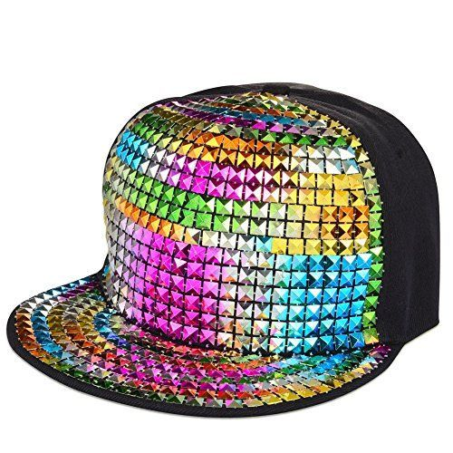 Pyramid Plastic Studs Bling Flat Hip Hop Cap Rivet Spikes Hat Rock Punk  (Multi Black) 93a9df54e2ed