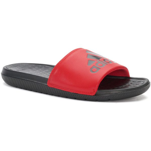 Adidas Voloomix Women's Slide Sandals ($20) ❤ liked on Polyvore featuring shoes, sandals, med red, red open toe shoes, slip on sandals, open toe sandals, padded sandals and open toe shoes
