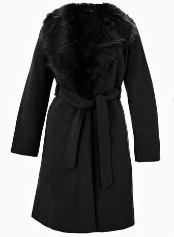 **Quiz Black Faux Fur Collar Belted Coat