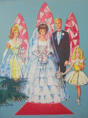 Vintage Mattel Barbie - looks like the back cover of a paper doll folder ... actually this is the front of a hard sided Barbie doll case...