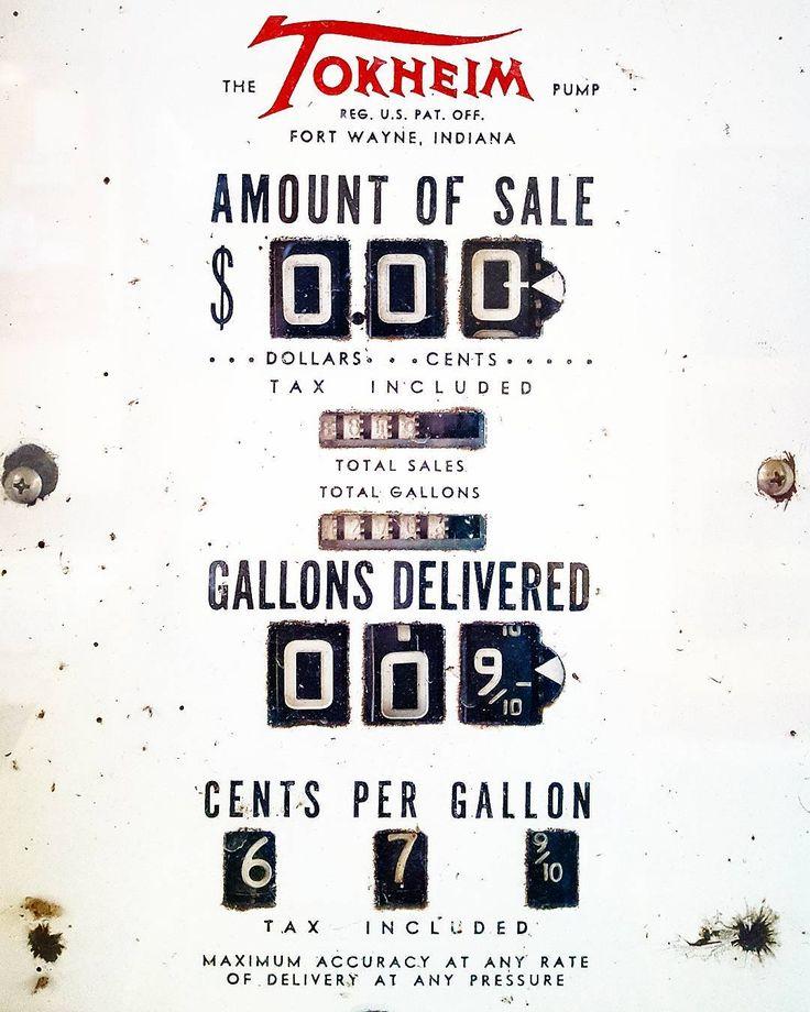 #tokheim #pump #gas #gasoline #antique #vintage #americana #digits #fortwayne #indiana #registered #trademark #amountofsale #dollarsandcents #tax #sales #gallons #font #typography #black #white #red #midcentury #1900s #20thcentury