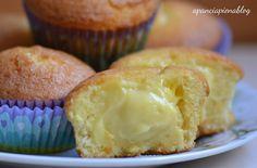 Deliziosi muffin farciti con crema pasticcera, ricetta in versione tradizionale e bimby.