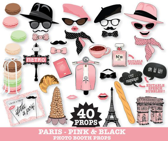 Paris Party Photo Props  Paris Photo Booth by SimplyEverydayMe