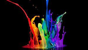 Aguarelas, respingo de tinta colorida