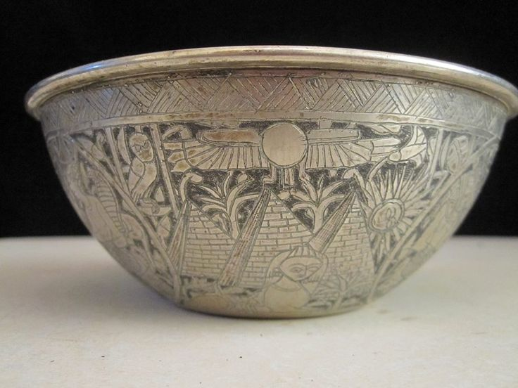 $120 · Stunning carved Egyptian motif continental silver bowl, marked on base 800
