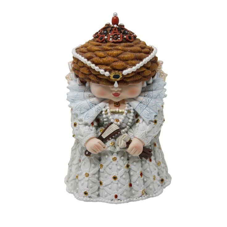 Celebrate our royal history with this Mini Me Model of Queen Elizabeth I. Displayed in a beautiful white gown with a ruff around her neck and a string of pearls in her hair, she stands proud with a bejewelled crown on her head and gloves and a fan in her hands. This incredibly detailed model is crafted from resin and is hand painted for the highest of quality. The model stands at approx. 13cm so it is the perfect height for your fireplace. Pair it with some of our other Mini Me Models and…