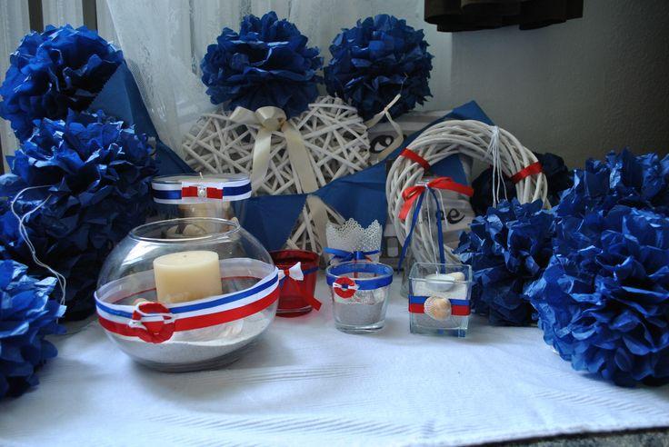 sailor's wedding deocr marynarskie wesele ślub stylowe red/white/blue