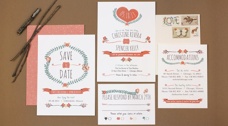 wedding stationary design inspiration for 'save the date' post ...