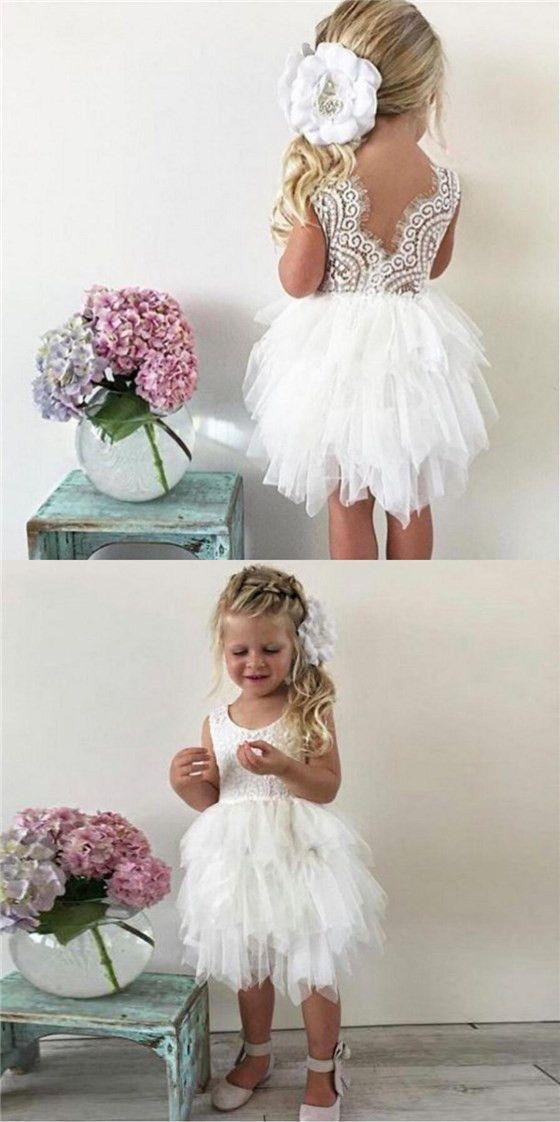 18de5ed07 Tulle Lace Sleeveless Flower Girl Dresses Lovely Tutu Dresses