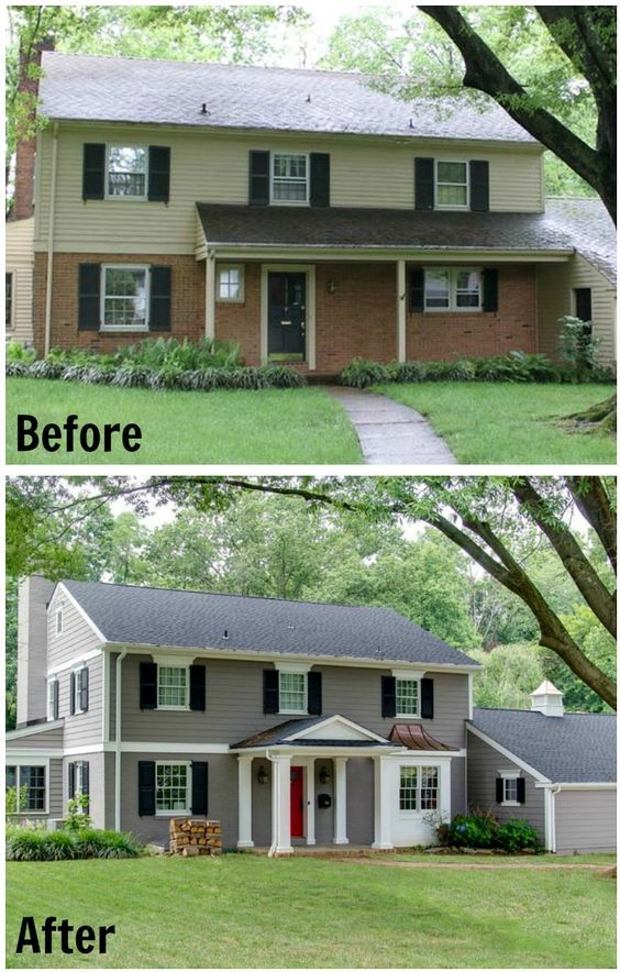 42 best exterior home redo images on pinterest before for Redesign front of house