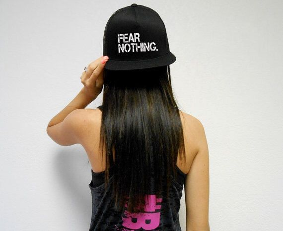 Fear Nothing Hat. Unisex Workout Hat. Snapback Cap. Flat Bill Hat. Snapback Hat. Retro Cap. Flat bill Hat. Cross Training. Fear Nothing by StrongGirlClothing on Etsy https://www.etsy.com/listing/190295190/fear-nothing-hat-unisex-workout-hat