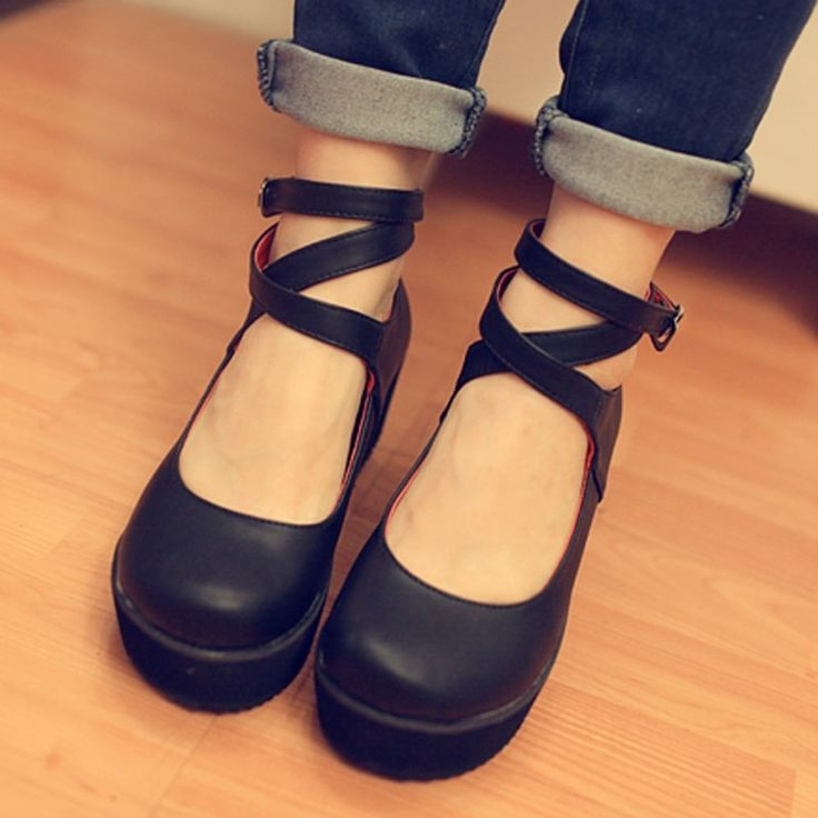 So damn cute!!!  Pinterest: @Mer_Elise ✧ Ankle strap platform ballerinas.